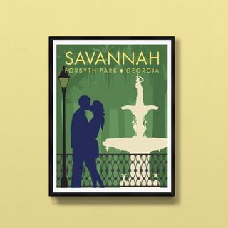 forsyth park savannah art print proster