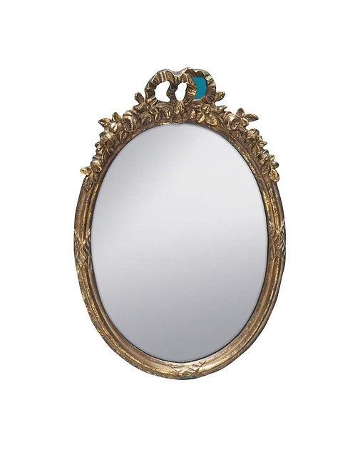 Petit miroir ovale doré & guirlande