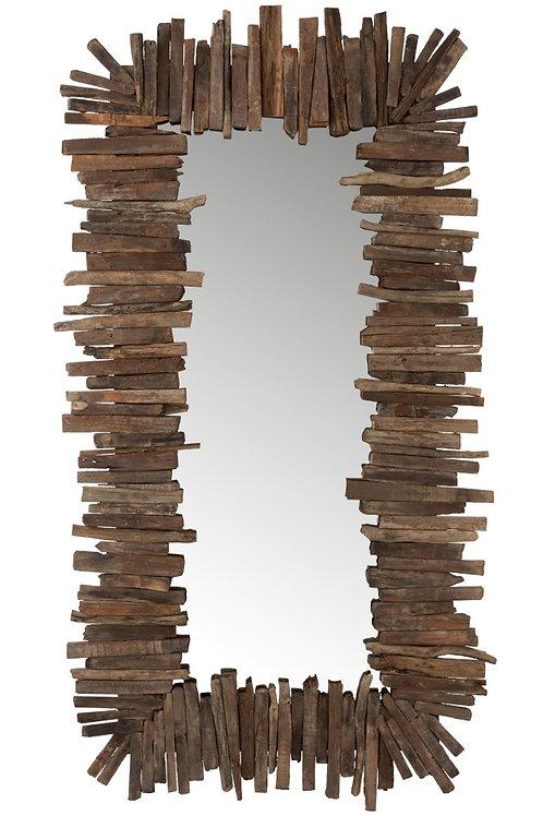 Copie de Miroir Rectangulaire Morceaux Bois Recycle Marron L