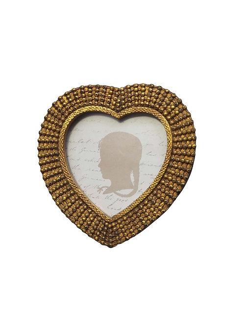 Petit porte photo coeur doré