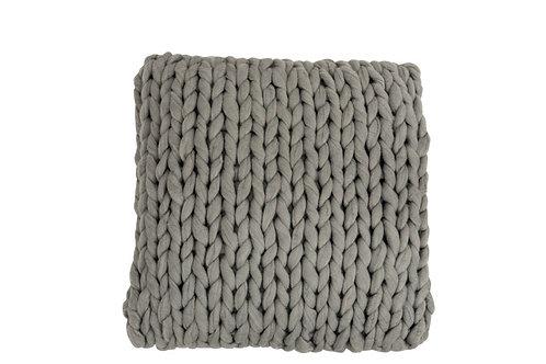 Coussin Tricote Carre Acrylique Gris Clair