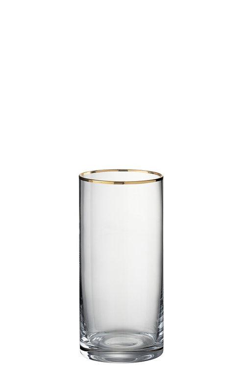 Set de 6 Verres Bord Cylindrique Haut Verre Transparent/Or