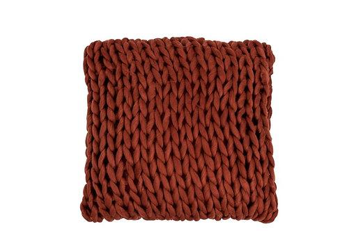Coussin Tricote Carre Acrylique Vieux Rouge