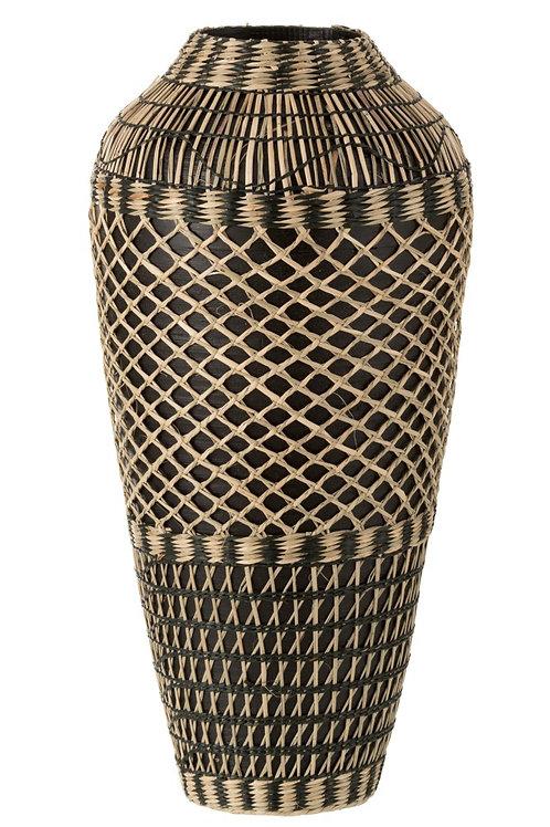 Vase Ethnique Bambou Noir Large