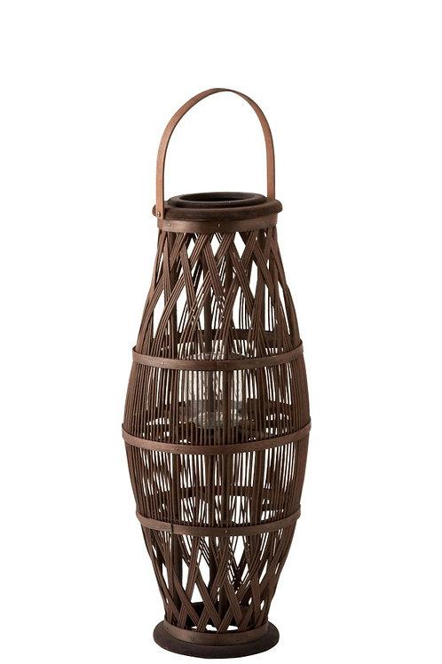 Lanterne Haute Bambou Marron L