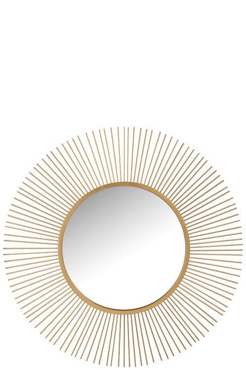 Miroir Barres Rond Metal Or