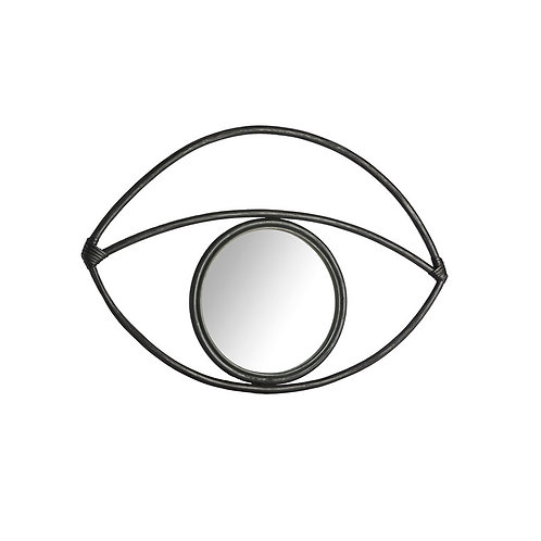 Miroir rotin noir 65x2.5x45cm