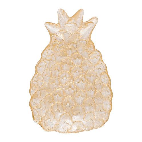 Plat ananas hellea dore verre
