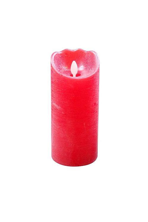 Bougie cyl. rouge LED 17.5cm.(+Télécommande).
