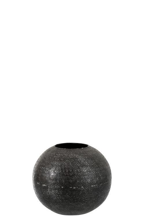 Vase Boule Motifs Aluminium Graphite