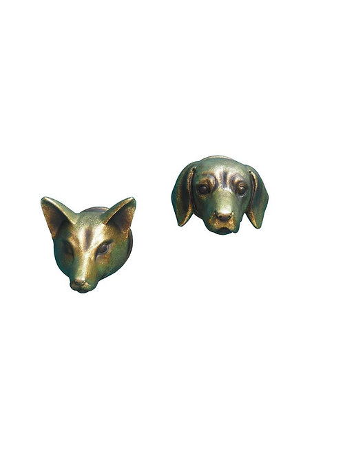 S/2 décos murales renard et chien dorés