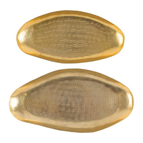 Set 2 Plateaux ovales Padma dore antique