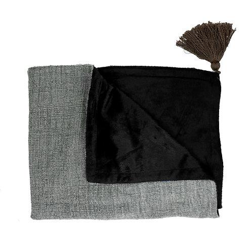Plaid - coton / sherpa - gris bleu