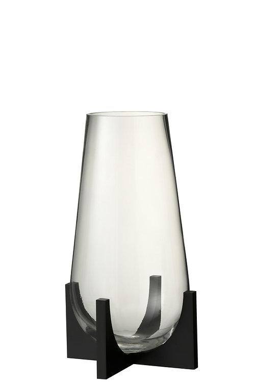 Vase Conique + Pied Verre/Métal Transparent/Noir L