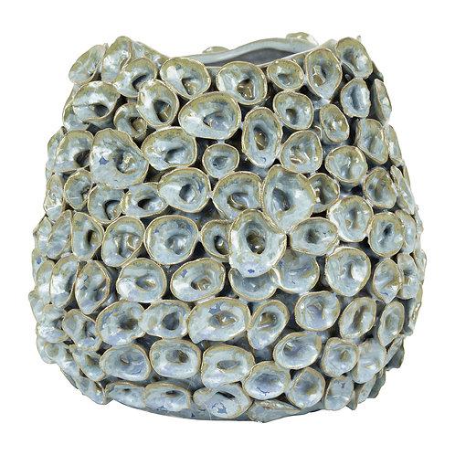 Vase ocella bleu gris d28xh24.5cm gres