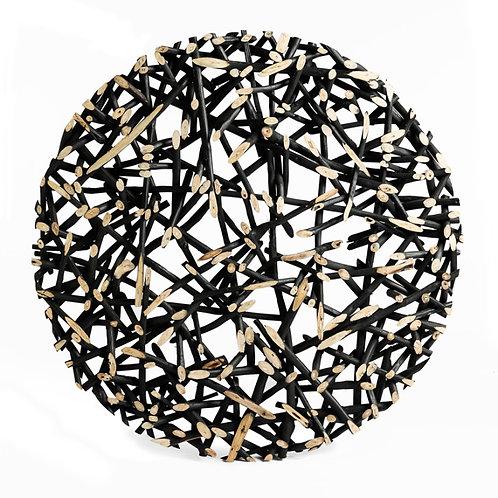 Déco murale ronde bois teck noirDIA 120 cm x H7 cm