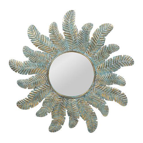 Miroir plume resili turquoise+dore