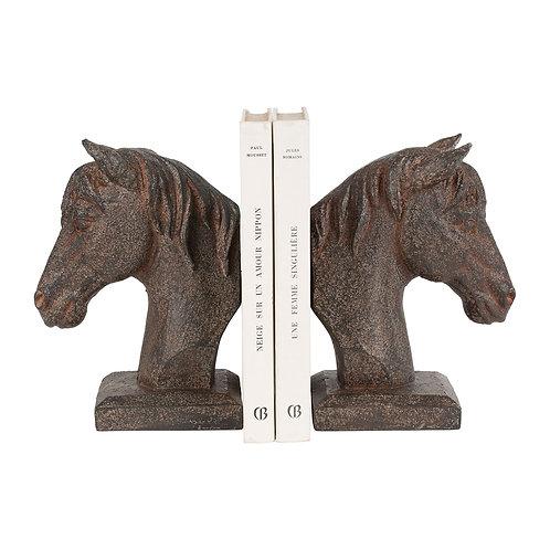 Serre-livre g+d cheval wouri patiné 26x9xh17.5cm
