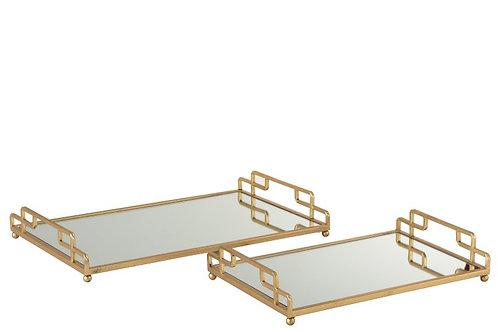 Set De 2 Plateaux Rectangulaires Metal/Verre Or