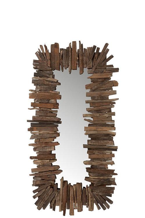 Miroir Rectangulaire Morceaux Bois Recycle Marron S