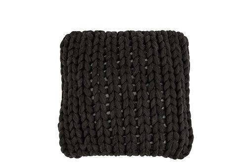 Coussin Tricote Carre Acrylique Gris Foncé