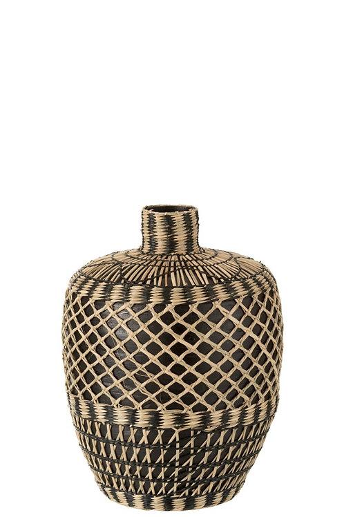 Vase Ethnique Bambou Noir S