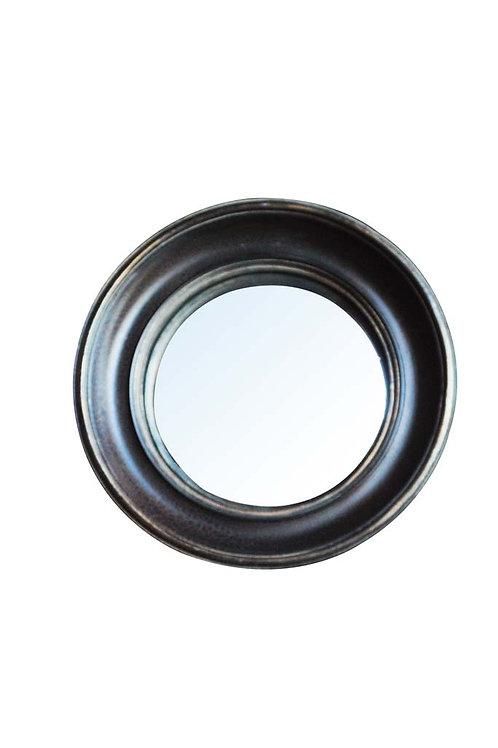Miroir convexe 26cm bord noir & or