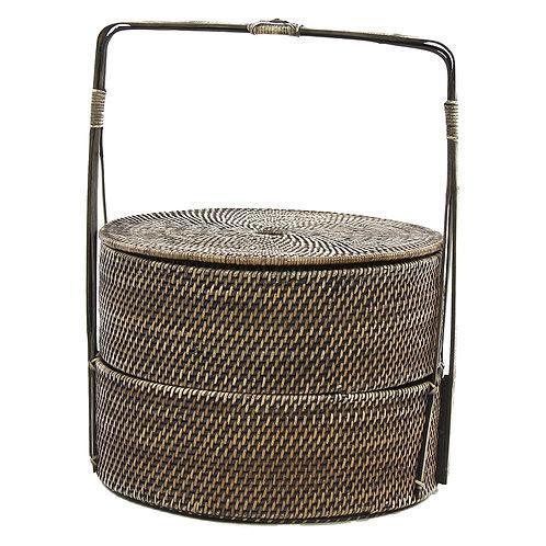 Panier rondavec poignée - rotin/bambou - naturel - ø42xh56 cm