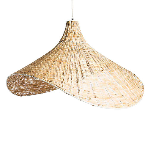 Suspension Hat fer blanc/canne naturel h90cm