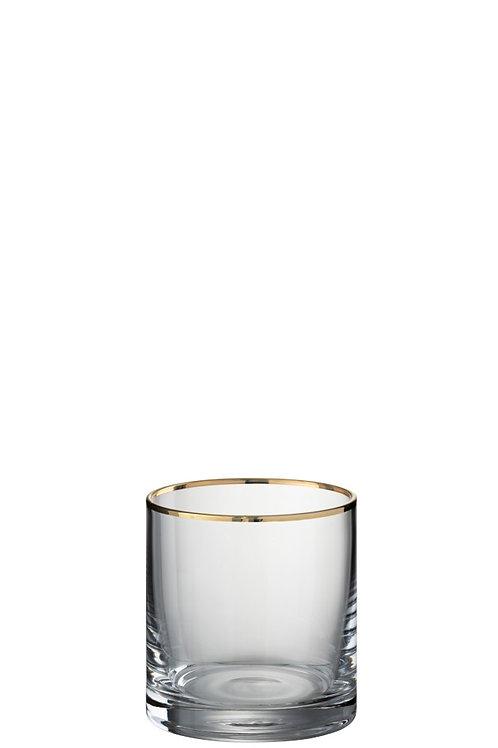 Set de 6 Verres Bord Cylindrique Verre Transparent/Or