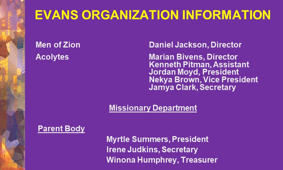 Men of Zion, Acolytes & Missionary Dept.
