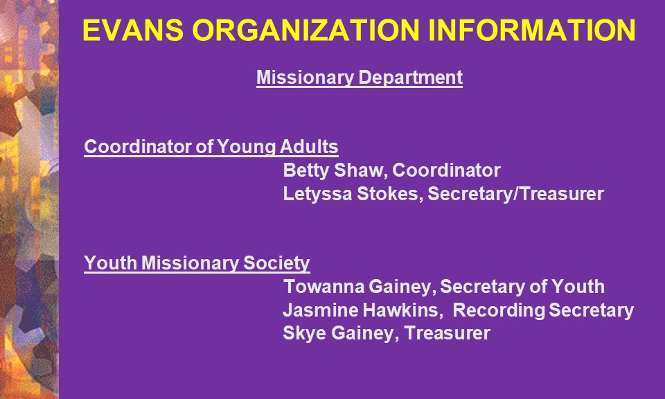 Missionary Department