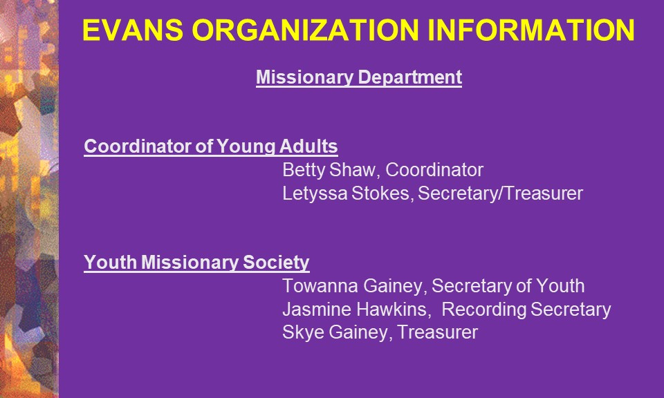 10-Young Adults & Youth Missionary