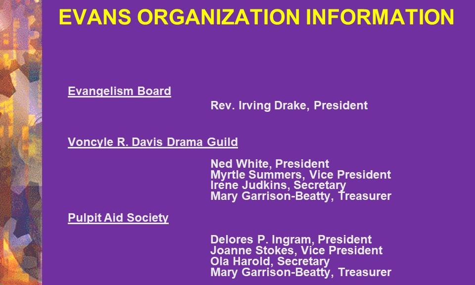 Evangelism Board, Drama Guild, & Pulpit