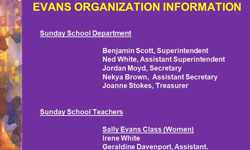 Sunday School Department & Teachers