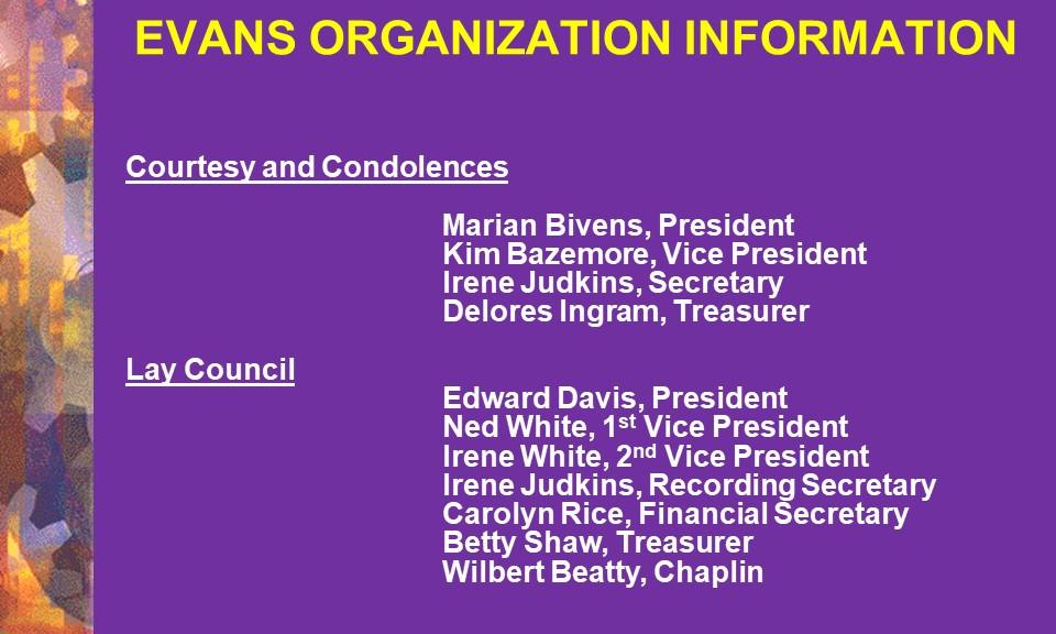 Courtesy & Condolences and Lay Council