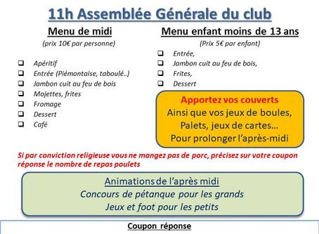 Assemblée Générale et Journée du club samedi 1er juin