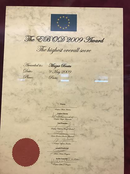 Highest Overall Score - EBOD-2009 - European Board of Ophtalmology