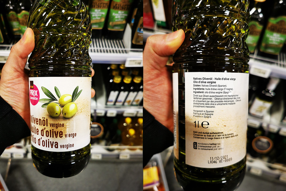 "Coop's Prix Garantie olive oil now listed as ""Vergine"" (Photo: Master of Olive Oil)"