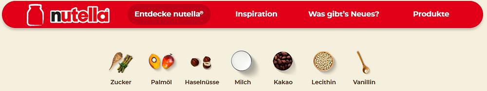 «7 hochwertige Zutaten, sonst nichts», schreibt Ferrero. (Bild: Screenshot https://www.nutella.com/de/de/entdecke-nutella/qualitat-und-zutaten) Master of Olive Oil