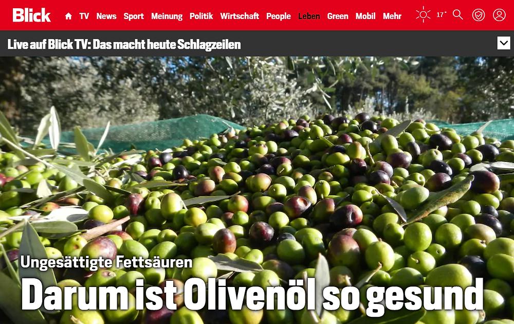 (Screenshot blick.ch) Olivenöl evoo.expert