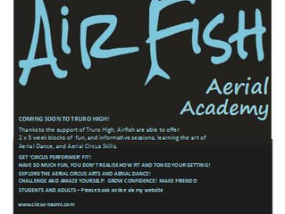 Airfish Aerial Academy comes to Truro Jan 9 2017! Limited places, and only 2 x 5 week blocks availab