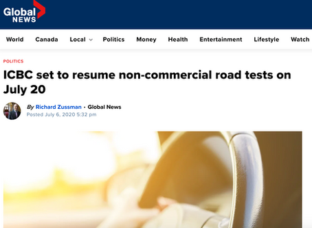 Global News: ICBC set to resume non-commercial road tests on July 20