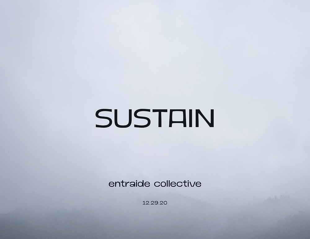 """clouds. mountians appear and disappear . white . song. Text reads: """"SUSTAIN entraide collective 12.29.20"""" zine cover"""