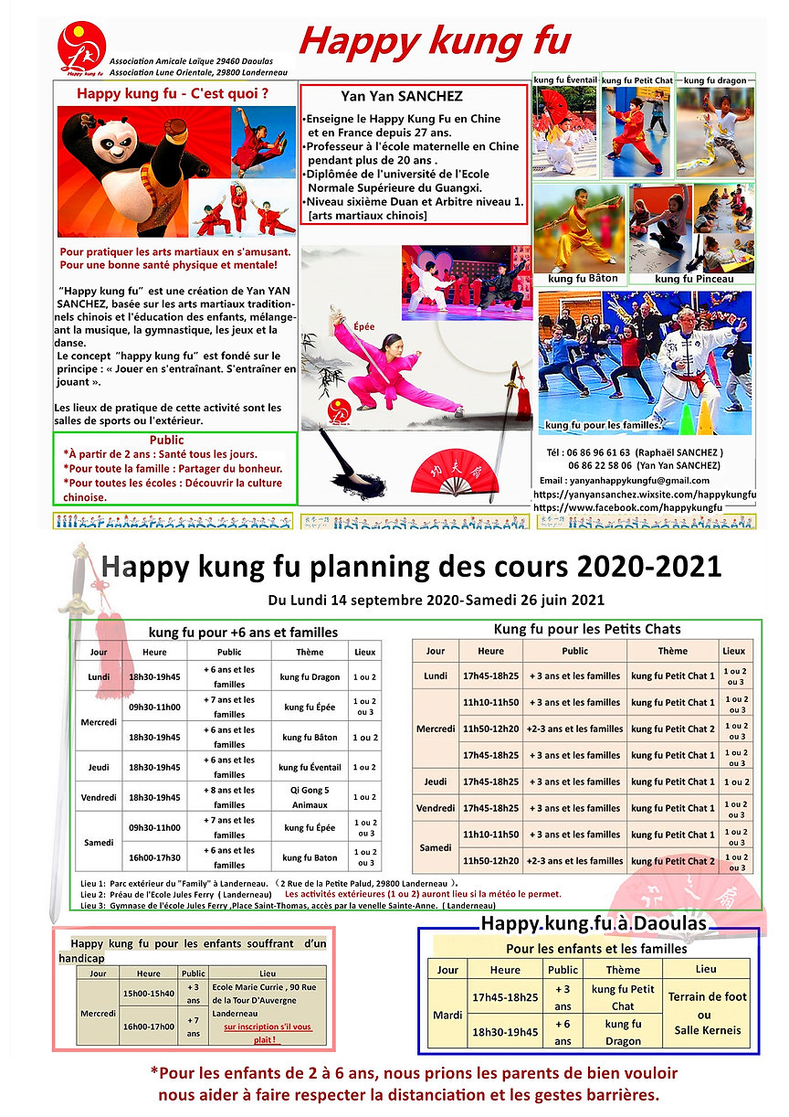 2020-2021Happy Kung Fu Planning des cour