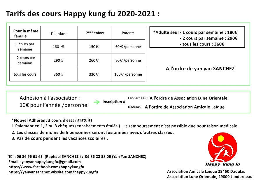 2020-2021 Happy kung fu Tarifs-收费定稿-儿童与成