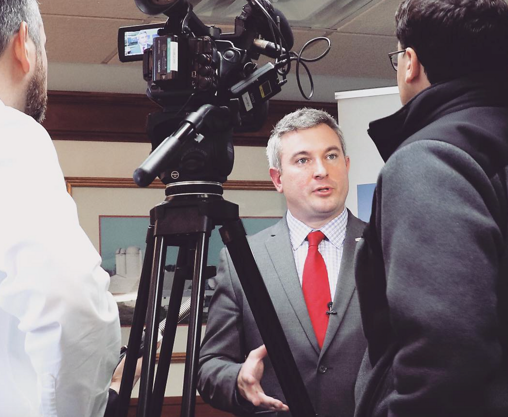 Kentucky Agriculture Commissioner Ryan Quarles discusses economic impact of hemp in Kentucky in 2018 at the E.S. Good Barn on the University of Kentucky campus in Lexington, Kentucky on March 18. 2019.