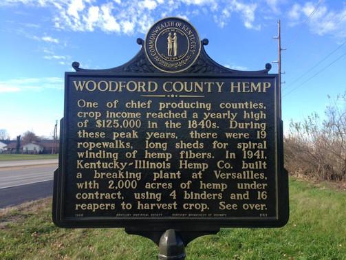 """Woodford County Hemp"" Kentucky Historical Marker"