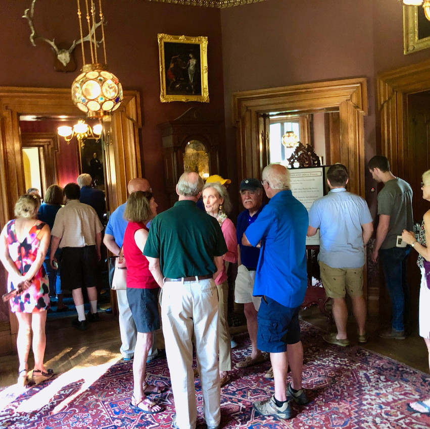 Guests touring the first floor of the Ashland mansion during the Hemp History deTour in Lexington, Kentucky.