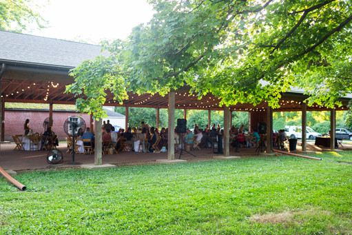 2019 Farmington Hemp Dinner: Guests enjoying hemp-infused feast under the Farmington pavilion